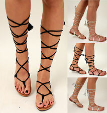 New Ladies Lace up Suede Sandals Summer Gladiators Holiday Flat Strappy Shoes