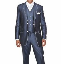 Men's Slim Fit Suits Set Wool Feel with pants and vest included Navy 5702v1