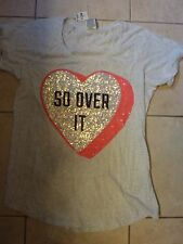 "VICTORIAS SECRET PINK BLING ""PINK""SO OVER IT"" SCOOPNECK/CREW CUFFED TEESHIRT NWT"