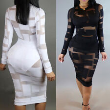 Sexy Lady Mesh Long Sleeve Evening Party Club Bandage Bodycon Mini Short Dress
