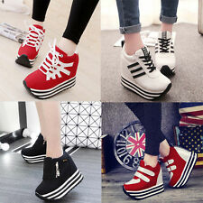 New Hot Womens/Students Lace Up High Platform Wedge Sneakers heels Casual shoes