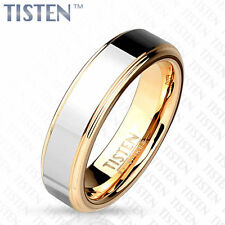 Tisten Tungsten Titanium 2-Tone Silver Rose Gold IP Wedding Band Couple Ring