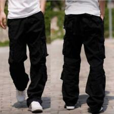 2016 New Mens Punk Hip Hop Loose Fit Cargo Overalls Baggy Pants Trousers 28 & 40
