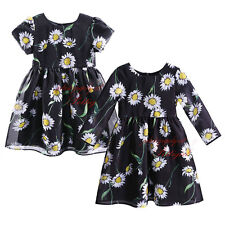 Girls Black Party Dress Daisy Print Kids Floral Princess Dresses Age 3-12 Years