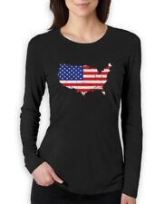 USA American Flag 4th of July Patriotic Women Long Sleeve T-Shirt Independence
