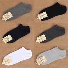 5 Pairs Lot Men 9-12 Athletic Sports Cotton Crew Ankle Socks White Black Gray