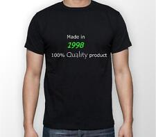 18th Birthday novelty black T-shirt funny present gift slogan mens made in 1998