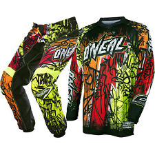 Oneal 2017 NEW Mx Youth Element Vandal Black Neon Fluro Kids Motocross Gear Set