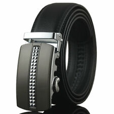 Fashion Mens Belt Black Automatic Buckle Genuine Leather OL Waist Strap Belts