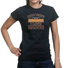 Holy Sh*t I Love Bacon Strips Funny Epic Meal Ladies T shirt Tee Top T-shirt