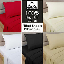 Luxury 100% Egyptian Cotton Fitted Sheet 27cm Extra Deep or Flat Sheet all Sizes