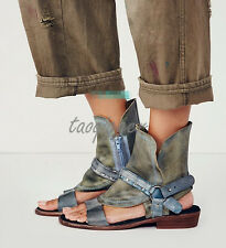 Womens Punk Retro Sheep Leather Open Toe Roma Sandals Suede Gladiator Shoes New