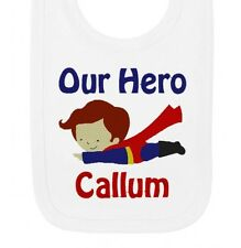 Personalised Our Super Hero Any Name Boys Newborn Baby Bibs Embroidered Gifts