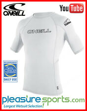 ONeill Mens Skins Short Sleeve Rashguard 50+UV Protection Rash Guard WHITE