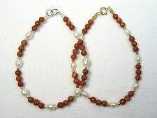 Lyns Jewelry Goldstone and Freshwater Pearl Bracelet Silver or Gold