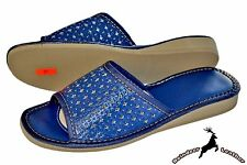 Ladies Real Leather House Women's Blue Kurly Flat Soft Slippers Sandals Mule New