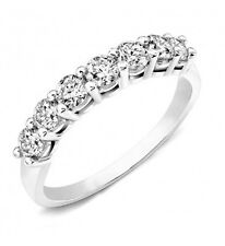 Lab Diamond Wedding Band Ring Round 0.75 Ct 14K White Gold 7 stone Anniversary