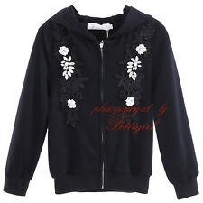 Kids Girls Bomber Jacket Childrens Hooded Cotton Coat Rhinestone Aplique Outwear