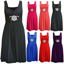 Womens 3/4 Sleeveless Front Ring Full Length Ladies Maxi Dress Top Size 16-26