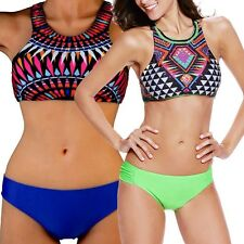 Fashion Ladies Sport Boho Halterneck Geometric Bikini Tankini Swimwear Swimsuit