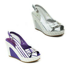 WOMENS LADIES PEEP TOE PLATFORM WEDGE HEEL SLINGBACK SANDALS SHOES SIZE 3-8