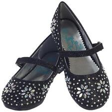 Girls BLACK Dress Shoes Glitter Flats w/ Iridescent Stone Beading Sz 5T-4 Youth