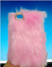 For Mobile Phone Sparkly Diamond Bling Gems Faux Pink Lovely Fur Hard Cover Case
