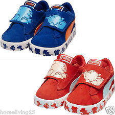 Puma S Vulc Tom and Jerry Baby Trainers UK Sizes Unisex Red Blue