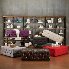 Tufted Ottoman Bench Stool Foot Coffee Table Accent Brown Beige Gray Purple Red