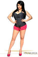 Top Drawer Denim Steel Boned Lace-Up Front Sexy Lingerie Corset Bustier