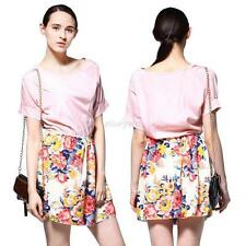 Fashion Women Casual Chiffon Summer Dresses Short Sleeve Floral Print Mini Dress