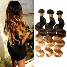 3 Bundles/300g Ombre Brazilian Body Wave Human Hair Weave Extensions 1B/4/27