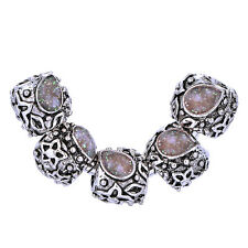 5pcs enamel european beads silver plated charms making jewelry 4colors