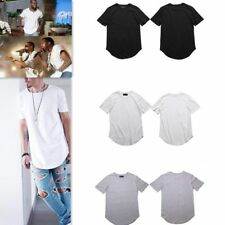 Men's Long T-Shirt Extended Basic Casual Hip Hop Crew Elongated Hipster Tee