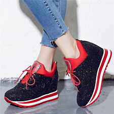 Womens Shoes Glitter Fashion Wedge Sneakers High Heels Shiny Sport Ankle Boots
