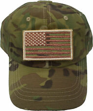 Military Low Profile Adjustable Tactical Operator Cap With American Flag Patch