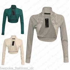Ladies Women's Long Sleeve Caviar Beaded Cropped Bolero Cardigan Shrug Plus Size