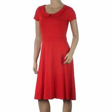 Ex Principles Red Jersey Dress Summer Tea Skater Peter Pan Collar Size 12 14 18