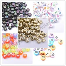100Pcs Acrylic Mix LETTER Mix Colour Round ALPHABET Charms Loose BEADS 7MM