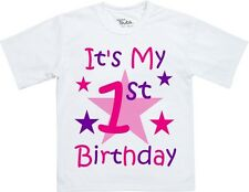Personalised Children's Kids Girls Birthday T-Shirt Any Age Name (Front & Back)