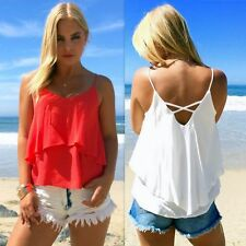 Sexy Fashion Women Summer Loose Sleeveless Casual Tank T-Shirt Blouse Tops Vest