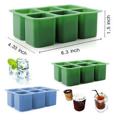 6-Shots Square Freeze Ice Cube Cup Maker Tray Silicone Mold Cool Shooters Mould