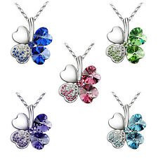 "Crystal Lucky Four Leaf Clover Love Heart Pendant Necklace 18"" Chain 2016 Trendy"