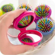 2Pcs Folding Hair Brush and Mirror Compact Pocket Size Travel Car For Purse Bags