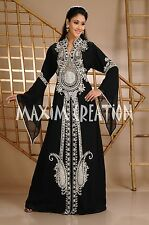 MOROCCAN BLACK GEORGETTE KAFTAN SILVER EMBROIDERY DUBAI ABAYA DRESS  3632