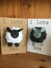 Handmade 'I Love Ewe' Valentine's Card with Felt Sheep keyring/ Keyfob