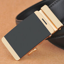 New Genuine Leather Men's Gold Automatic Buckle Belts Waist Strap Belt Waistband