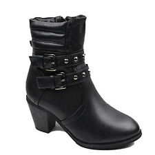 NEW WOMENS LADIES COWBOY STYLE MID HIGH CUBAN HEEL ANKLE BOOTS SHOES SIZE 3-8