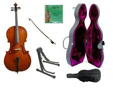 New Student Cello,Case,Bag,Bow,Rosin,2 Sets Strings,Cello Stand,Rosin 4/4 Size