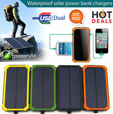 Solar Panel Battery Power Bank Dual USB Waterproof External Portable Charger